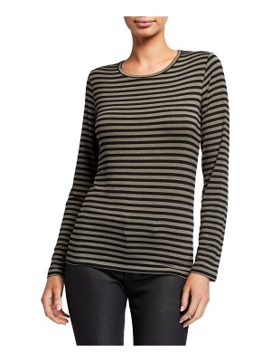 Majestic Paris for Neiman Marcus Striped Long-Sleeve Crewneck Tee