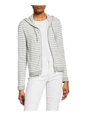 Majestic Filatures Striped Zip-Up French-Terry Hoodie