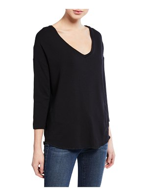 Majestic Paris for Neiman Marcus V-Neck Dropped-Shoulder 3/4-Sleeve French-Terry T-Shirt