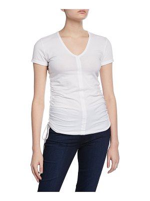 Majestic Paris for Neiman Marcus V-Neck Short-Sleeve Shirred Side Tee
