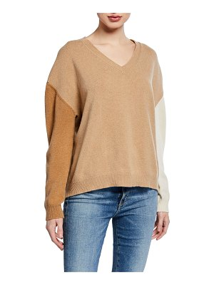 Majestic Tricolor V-Neck Long-Sleeve Sweater