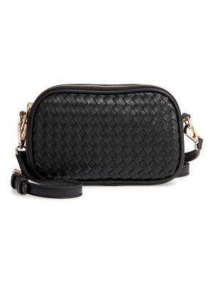 Mali + Lili ava woven vegan leather crossbody bag