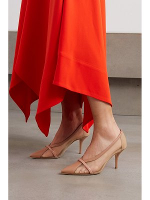 Malone Souliers brook 70 patent-trimmed mesh and leather pumps