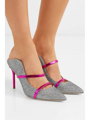 Malone Souliers maureen 85 metallic leather-trimmed lurex mules