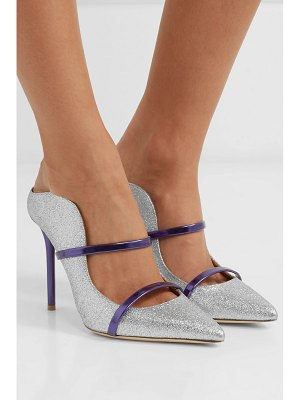 Malone Souliers maureen 100 metallic-trimmed glittered leather mules