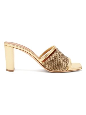 Malone Souliers demi beaded metallic-leather mules