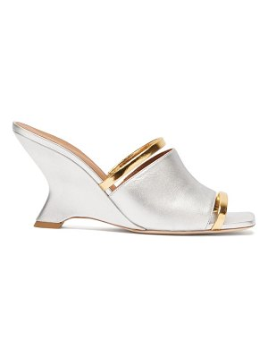 Malone Souliers demi metallic-leather wedge mules