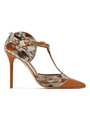 Malone Souliers Imogen T-bar snakeskin and leather pumps