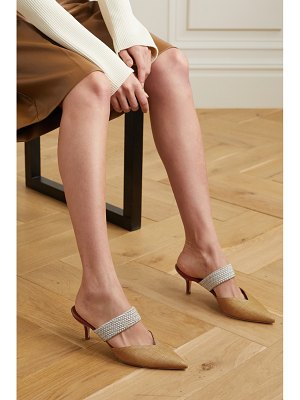 Malone Souliers maisie 45 cord-trimmed raffia and leather mules