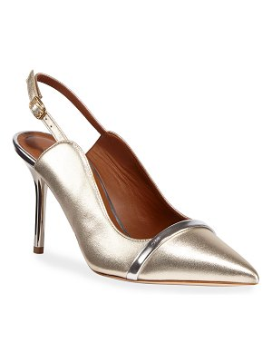 Malone Souliers Marion 85mm Metallic Napa Slingback Pumps