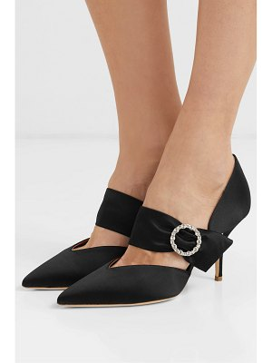 Malone Souliers matie 70 crystal-embellished satin pumps