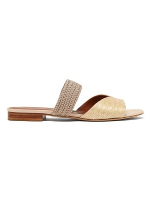 Malone Souliers rodena woven raffia and canvas slides