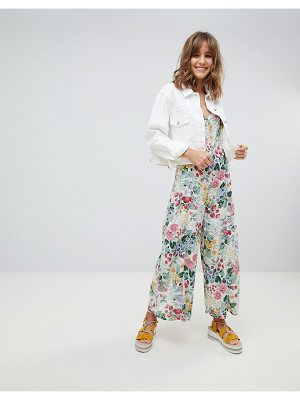 Mango all over floral strappy jumpsuit