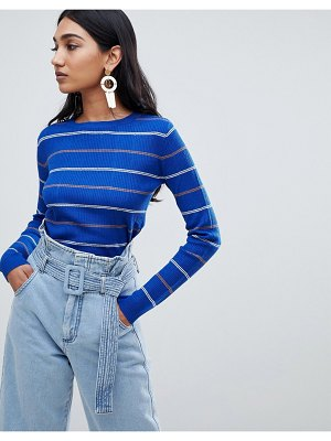 Mango bold color and stripe ribbed top