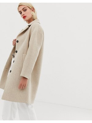 Mango button front mid length coat-beige