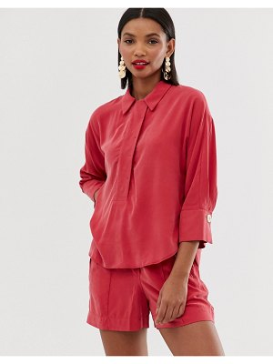 Mango button front shirt in red