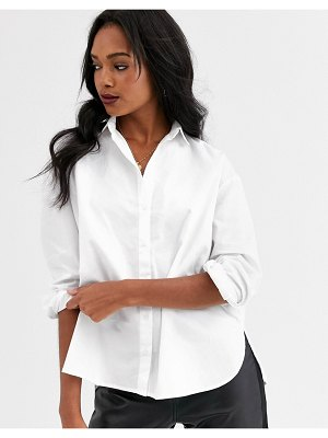 Mango button front shirt in white
