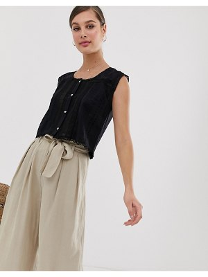 Mango button front sleeveless top in black