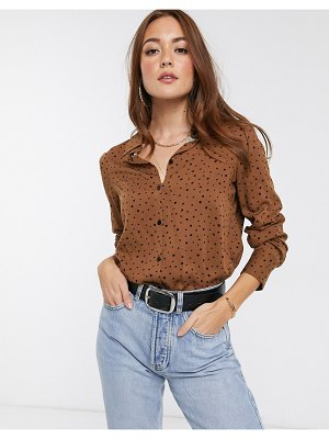 Mango button up shirt in brown polka dot