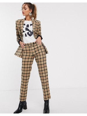 Mango check pants two-piece in brown