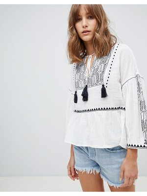 Mango embroidered smock top in white