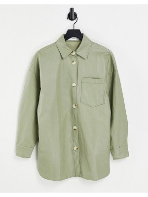 Mango faux leather overshirt in sage green
