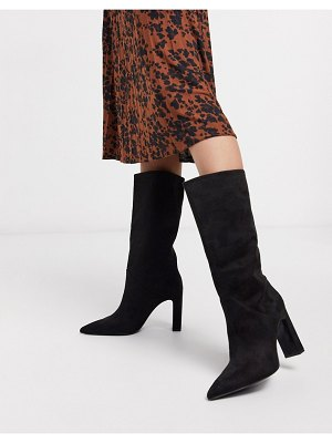 Mango faux suede knee high boots in black