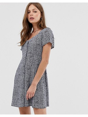 Mango floral button front dress in navy