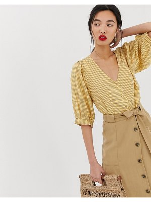 Mango gingham button front blouse in yellow