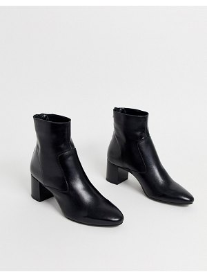 Mango leather boot in black