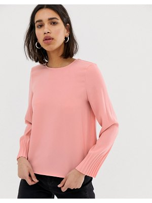 Mango long sleeved blouse with pleated cuff in pink