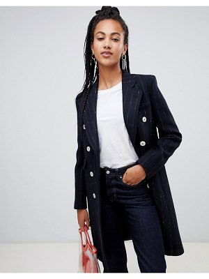 Mango pinstrie and double breasted tailored coat