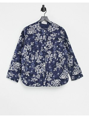 Mango quilted jacket in blue floral-blues