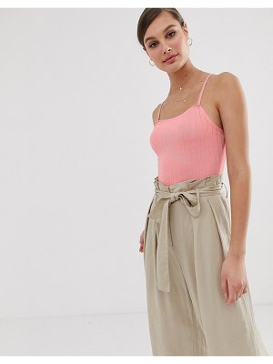Mango ribbed cami body in pink