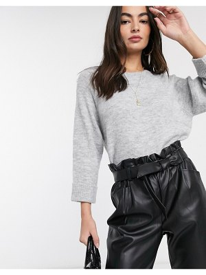 Mango ribbed neck sweater in gray