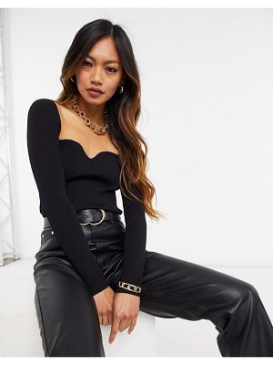 Mango ribbed sweetheart neck top in black