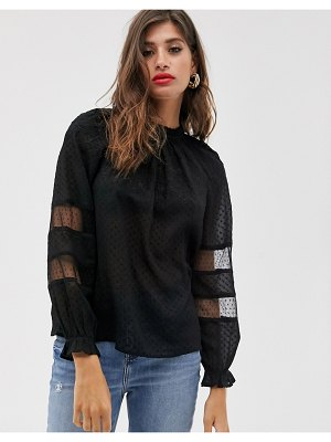 Mango sheer dobby embroidered blouse in black