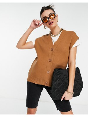 Mango sleeveless button front knit vest in tan-brown