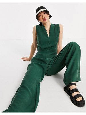Mango sleeveless jumpsuit with waist detail in green-neutral