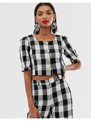Mango square neck gingham blouse two-piece in multi