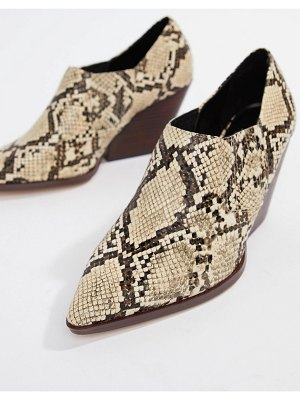 Mango stacked heel ankle boot in snake effect