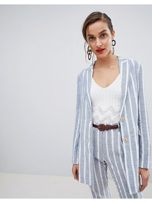 Mango Stripe Double Breasted Relaxed Blazer