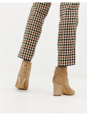 Mango suede block heel boot with ring pull