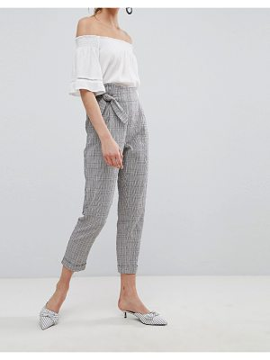 Mango Tie Front Cropped Check Pants