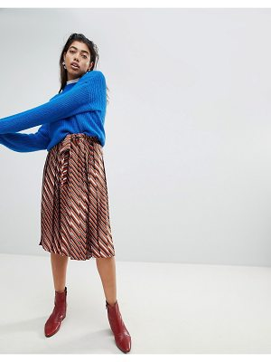 Mango Wide Pleated Tie Detail Skirt