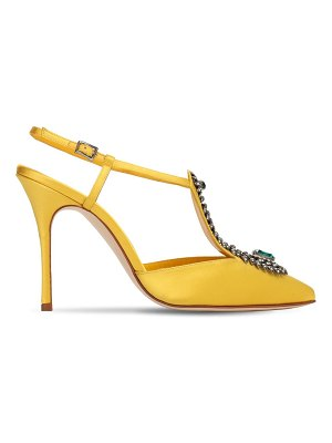 Manolo Blahnik 105mm jamala embellished satin pumps