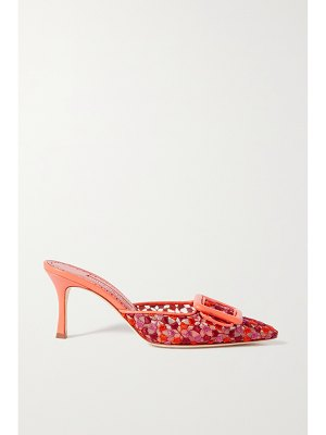 Manolo Blahnik maysale buckled embroidered mesh mules