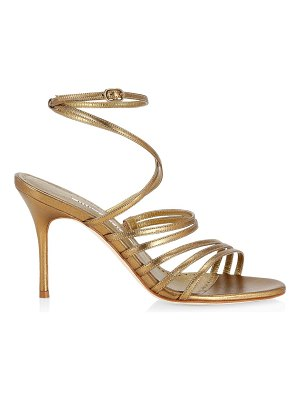 Manolo Blahnik sandena metallic leather strappy sandals