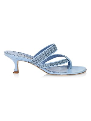 Manolo Blahnik susa kitten-heel woven leather thong sandals
