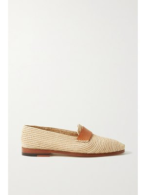 Manolo Blahnik zagora leather-trimmed woven raffia loafers